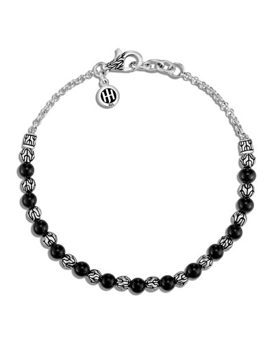 Classic Chain Silver 2mm Mini Rolo Chain Bracelet with Black Onyx