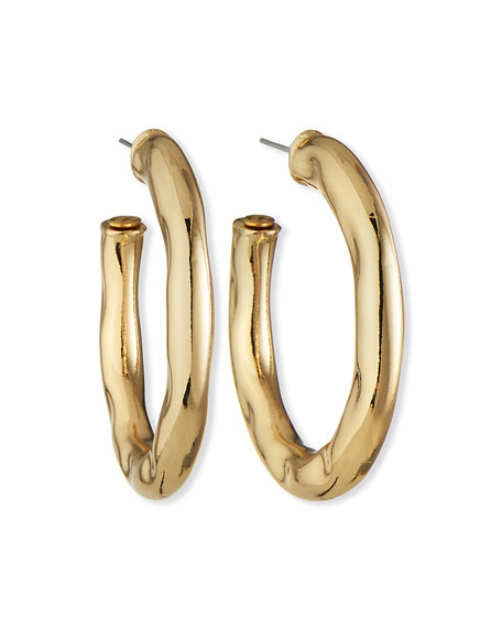 Image 1 of 2: Kenneth Jay Lane Wavy Hoop Earrings