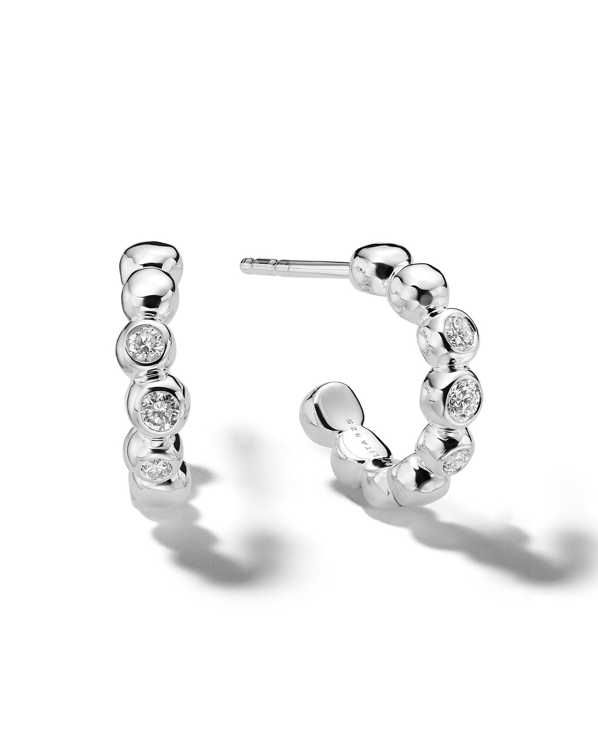 Ippolita Mini Stardust Bezel-Set Huggie Hoop Earrings in Sterling Silver with Diamonds