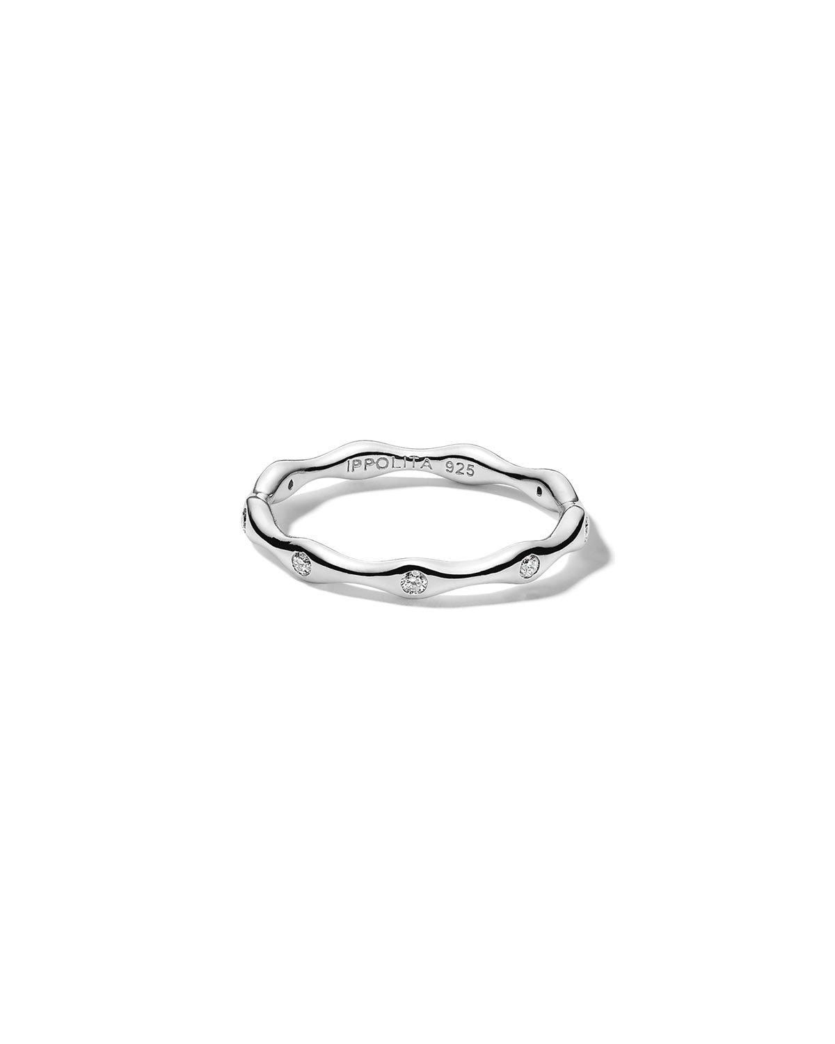Ippolita Stardust Starlight 9-Station Band Ring in Sterling Silver with Diamonds, Size 7