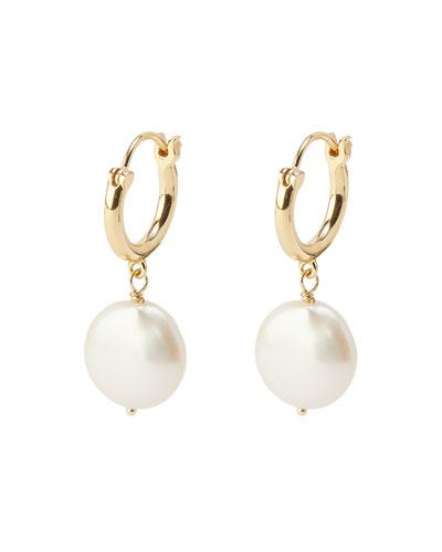 Reese Pearl Huggie Hoop Earrings