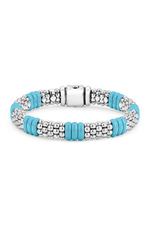 Lagos Blue Caviar Ceramic Station Bracelet, 9mm