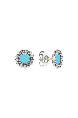 Lagos Maya 12mm Round Inlay Stud Earrings, Turquoise