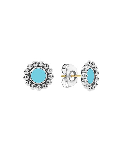 Maya 12mm Round Inlay Stud Earrings  Turquoise