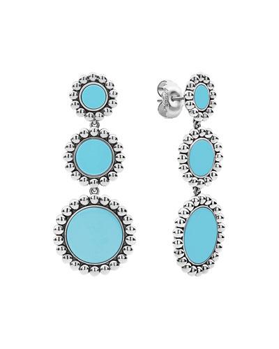 Maya 3-Drop Earrings  Blue