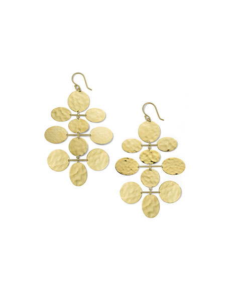 Image 1 of 2: Ippolita Classico Crinkle Hammered Mobile Cascade Earrings in 18K Gold