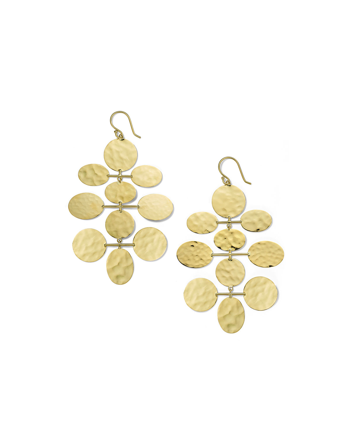 Ippolita Classico Crinkle Hammered Mobile Cascade Earrings in 18K Gold