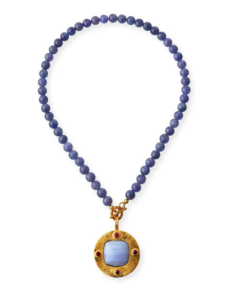 Image 1 of 2: Dina Mackney Tanzanite and Disc Pendant Necklace