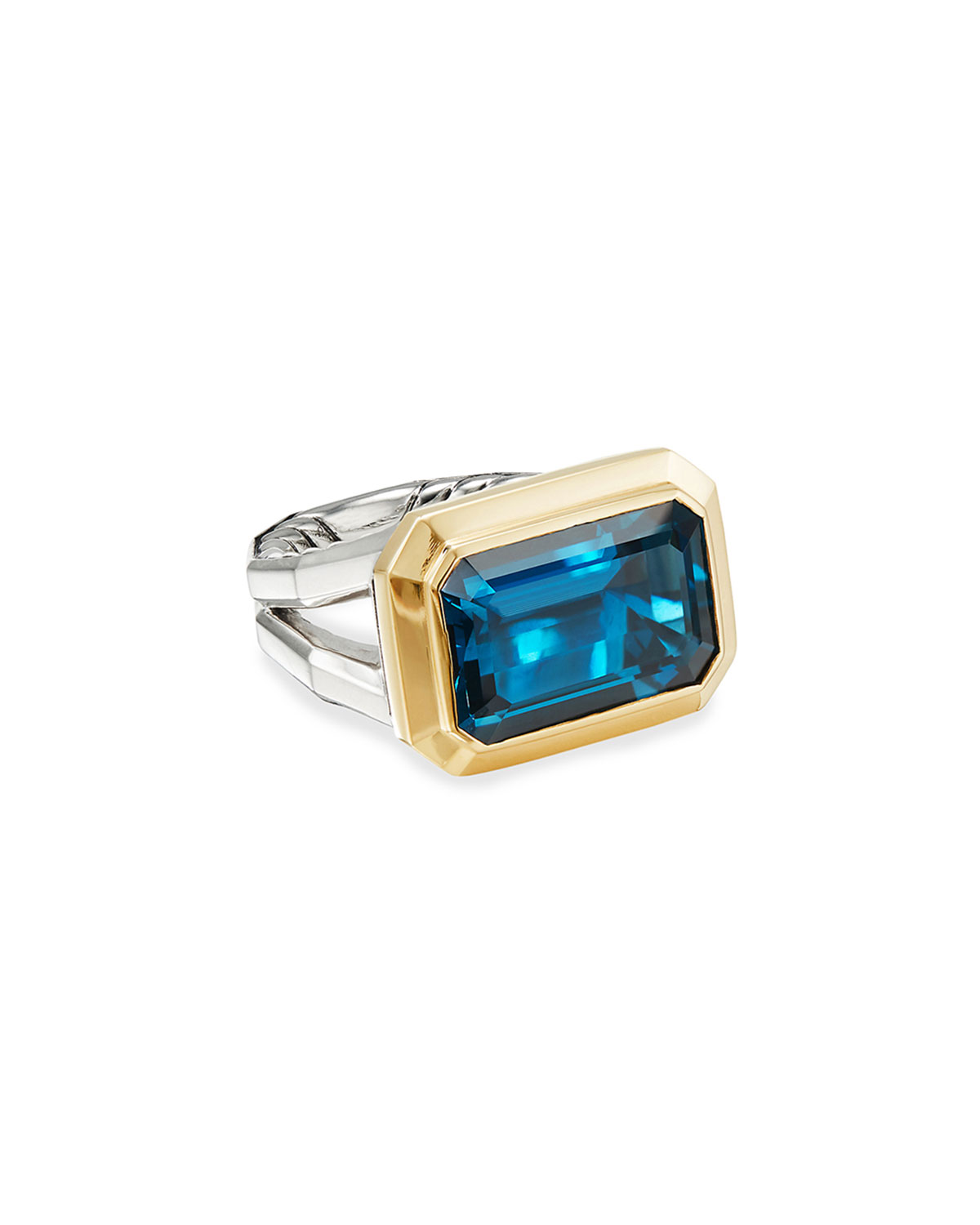 David Yurman Novella 16mm Stone Ring w/ 18k Gold & Topaz, Size 5-8