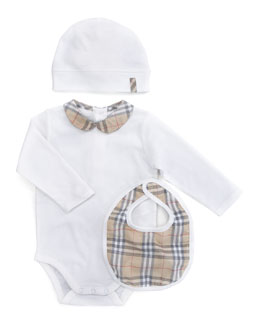 Burberry Boxed Bodysuit, Cap & Bib Set
