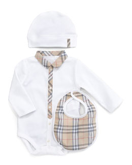 Burberry Boxed Bodysuit, Hat & Bib Set
