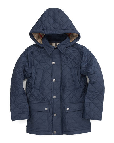 Burberry Hooded Quilted Jacket, Navy