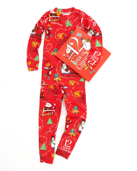 Boy 12 Days of Christmas Pajamas and Book Set, Sizes 2T-3T