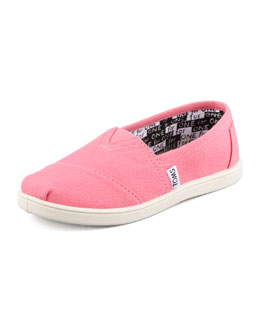 TOMS Classic Canvas Slip-On, Pink, Youth
