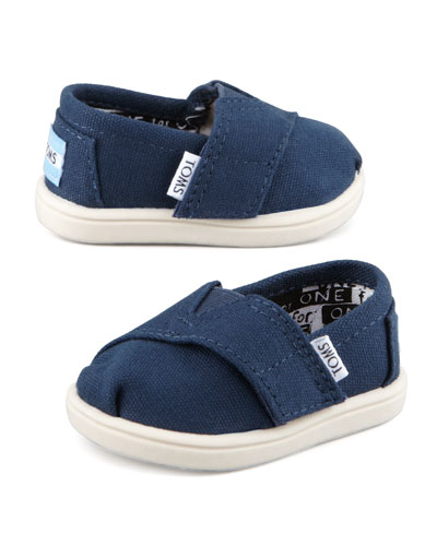 TOMS Classic Canvas Slip-On, Navy, Tiny