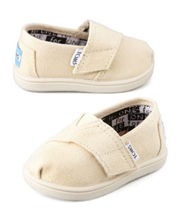 TOMS Classic Canvas Slip-On, Natural, Tiny