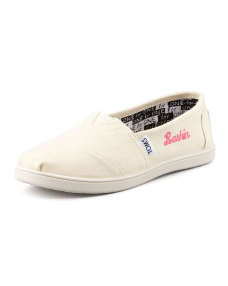Personalized Classic Canvas Slip-On, Natural, Youth