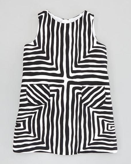 Mixed-Angle-Stripe Pocket Shift Dress