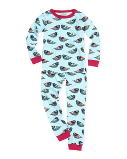 Bedhead Pearl Jewel Bird Pajamas, Turquoise, Sizes 2-8