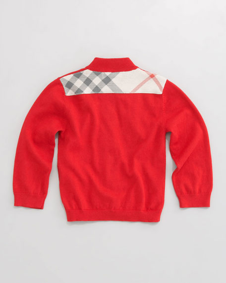 Aldo Zip-Front Sweater, Military Red, 6-18 Months