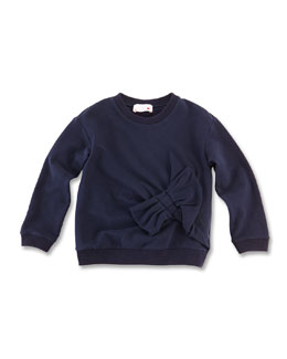 Lanvin Bow-Detail Wool Sweatshirt, Blue, Girls' 6Y