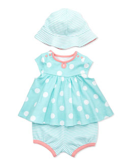 Offspring 3-Piece Dot Dress, Diaper Cover & Hat Set, Aqua