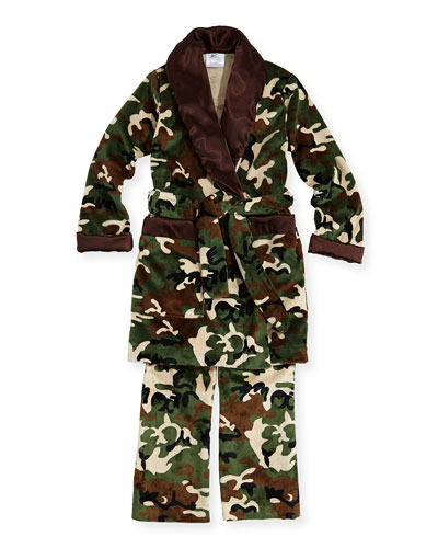 Kid's Camo-Print Lounge Pants & Robe Set