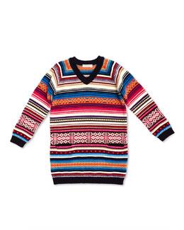 GUCCI Long-Sleeve Striped Sweaterdress, White/Pink, Girls' 4-12