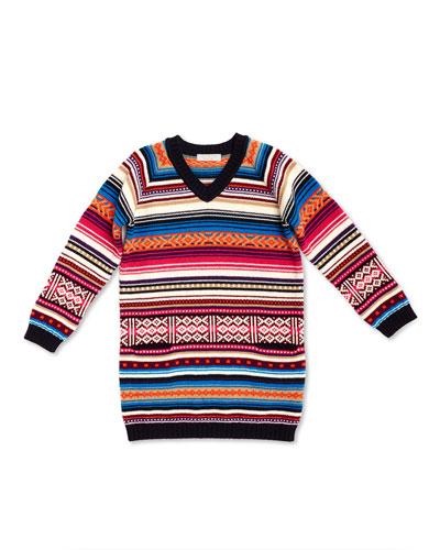 Long-Sleeve Striped Sweaterdress, White/Pink, Girls' 4-12