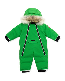 Canada Goose Lamb Snowsuit with Fur Trim, Green, 0-24 Months