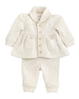 Ralph Lauren Childrenswear Atlantic Terry Shawl-Collar Hook-Up Set, Rugby Cream Heather, 3-24 Months