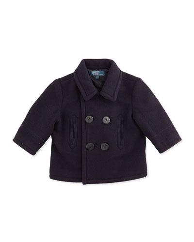 Ralph Lauren Childrenswear Naval Wool-Blend Pea Coat, Navy