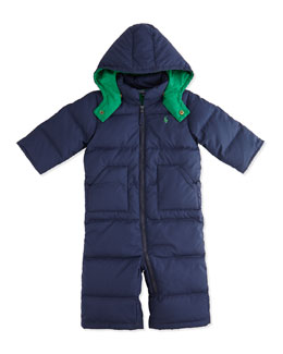 Ralph Lauren Childrenswear Quilted Puffer Snowsuit with Detachable Hood, Aviator Navy, 9-24 Months