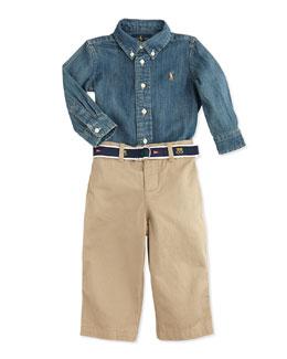 Ralph Lauren Childrenswear Denim Button-Down Shirt & Pant Set,