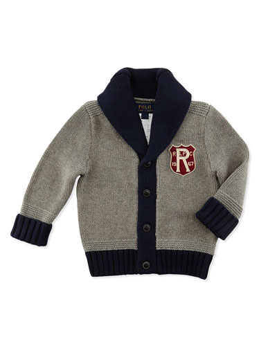Ralph Lauren Childrenswear Shawl-Collar Knit Cardigan, Fawn Heather, 9-24 Months