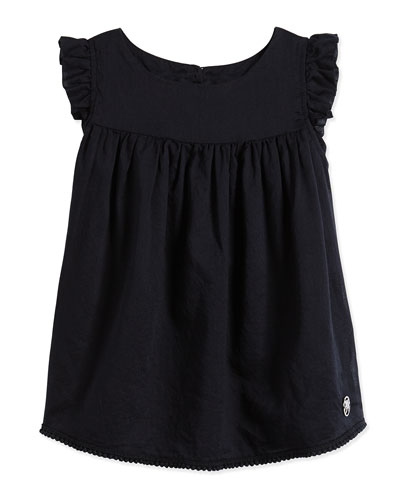 Sleeveless Cotton Tunic, Navy, Size 2-8