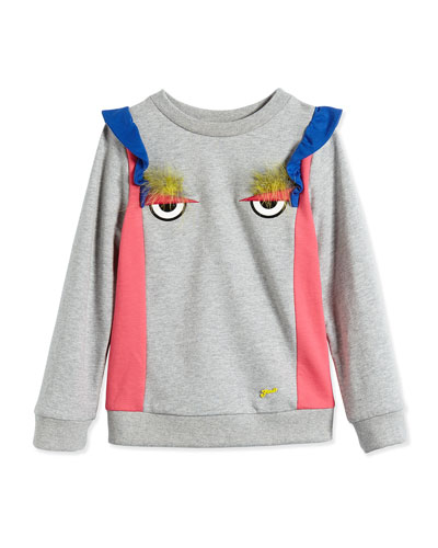 Long-Sleeve Cotton Sweatshirt w/ Eyes, Gray, Size 2-10