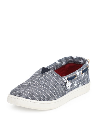 Chambray Stars & Stripes Bimini Shoe, Blue, Youth