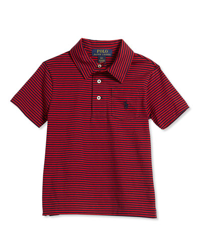 Striped Jersey Polo Shirt, Red, Size 2-7