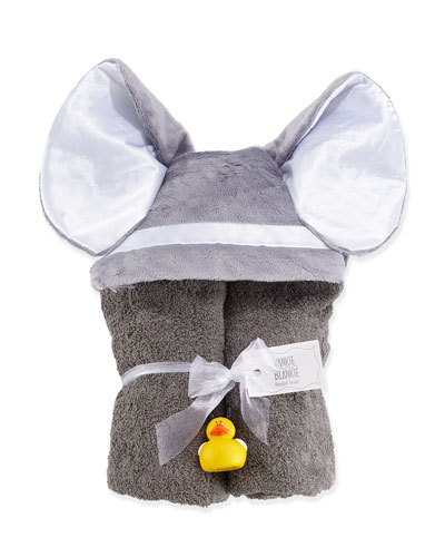Hooded Elephant Towel, Slate