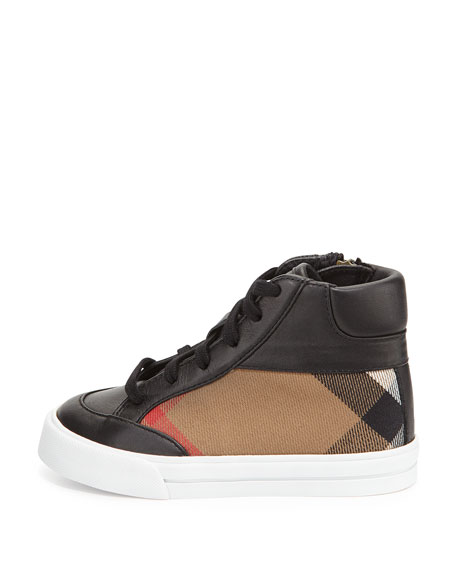 Haypark Mini Check High-Top Sneakers, Black/Tan, Toddler/Youth Sizes 10T-4Y