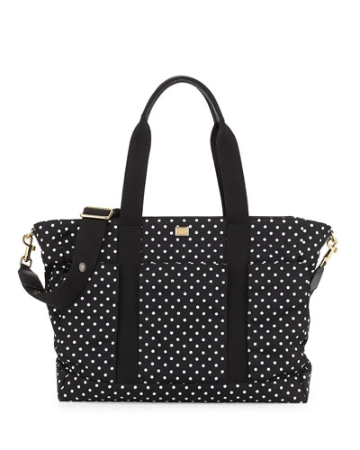 Polka Dot Nylon Diaper Bag, Black/White