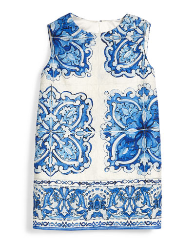 Sleeveless Floral-Print Shift Dress, Blue/White, Girls