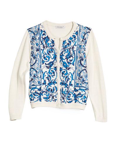 Floral Tile Silk Cardigan, Blue/White, Size 8-12
