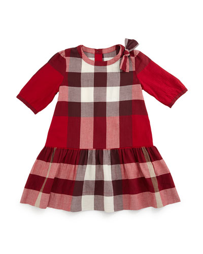 Haidee Check A-Line Dress, Rose, Size 4Y-14Y