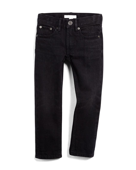 Burberry Skinny Five-Pocket Faded Denim Jeans, Black, Size