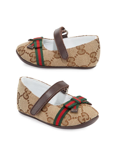 Marylin Canvas Guccissima Mary Jane Flat, Infant