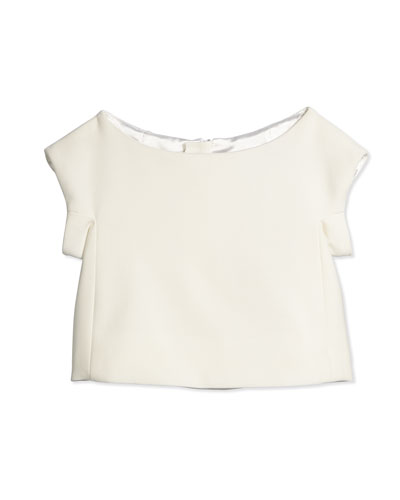Eva Cap-Sleeve Crop Top, White, Size 8-14