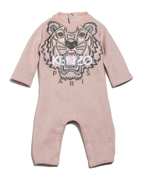Kenzo Knit Cotton-Blend Coverall, Light Pink, Size 6-12