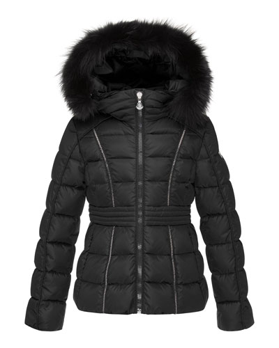 Eulali Fur-Trim Puffer Coat, Black, Size 4-6